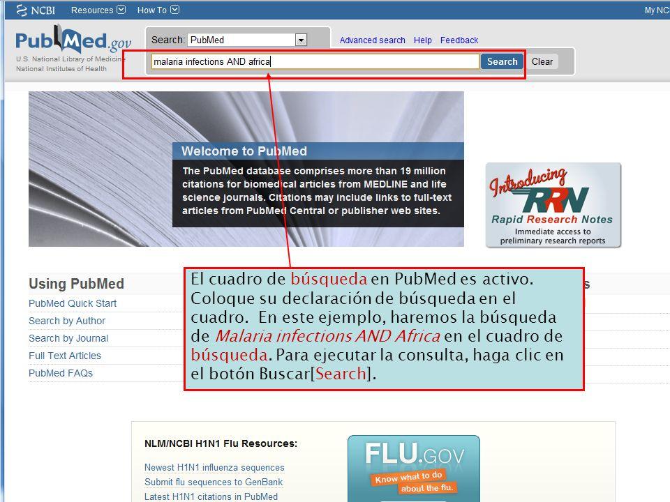 El cuadro de búsqueda en PubMed es activo