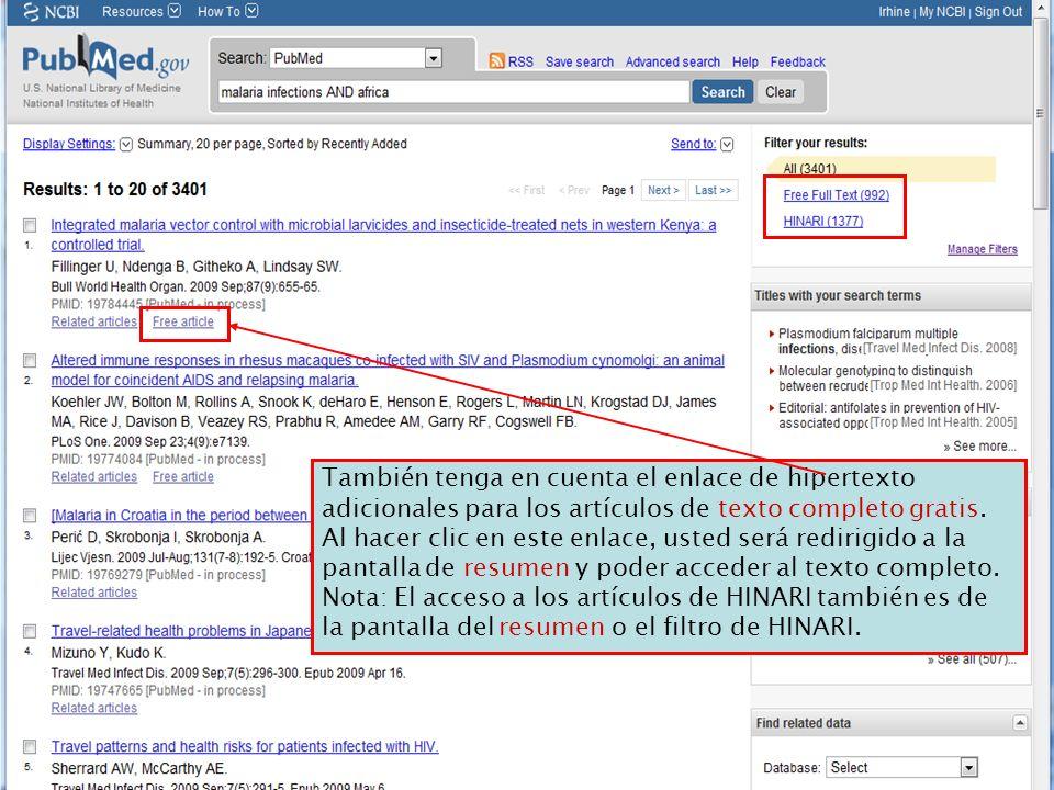 También tenga en cuenta el enlace de hipertexto adicionales para los artículos de texto completo gratis.