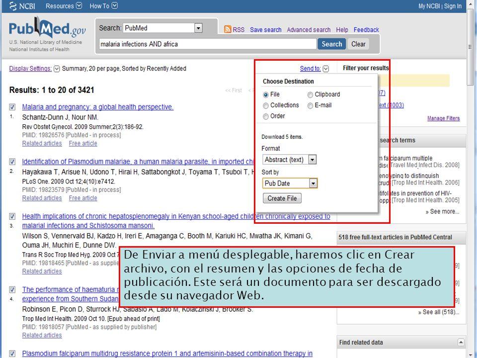 De Enviar a menú desplegable, haremos clic en Crear archivo, con el resumen y las opciones de fecha de publicación.