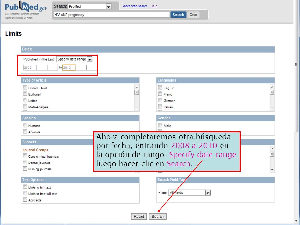 Ahora completaremos otra búsqueda por fecha, entrando 2008 a 2010 en la opción de rango: Specify date range luego hacer clic en Search.