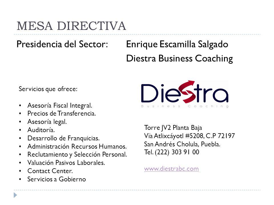 MESA DIRECTIVA Presidencia del Sector: Enrique Escamilla Salgado Diestra Business Coaching Servicios que ofrece: