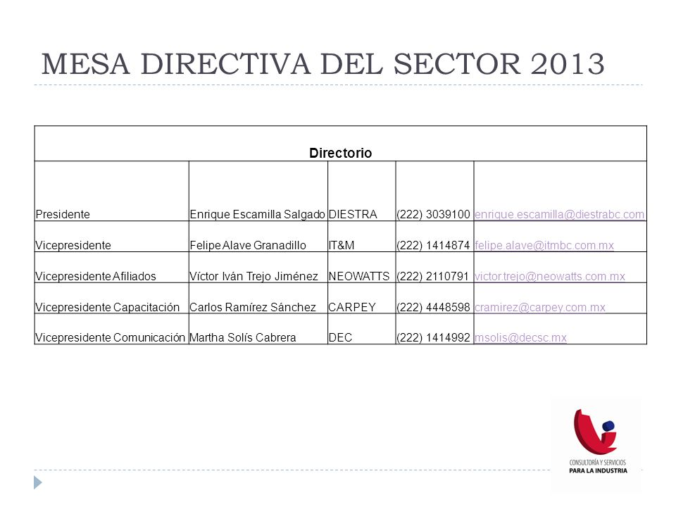 MESA DIRECTIVA DEL SECTOR 2013