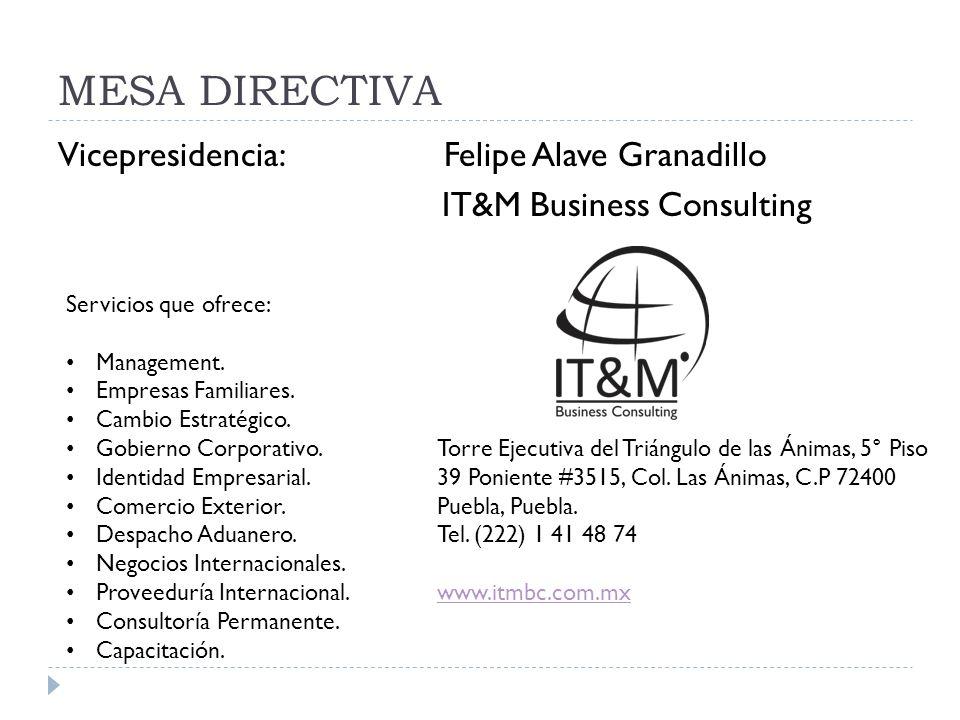 MESA DIRECTIVA Vicepresidencia: Felipe Alave Granadillo IT&M Business Consulting Servicios que ofrece: