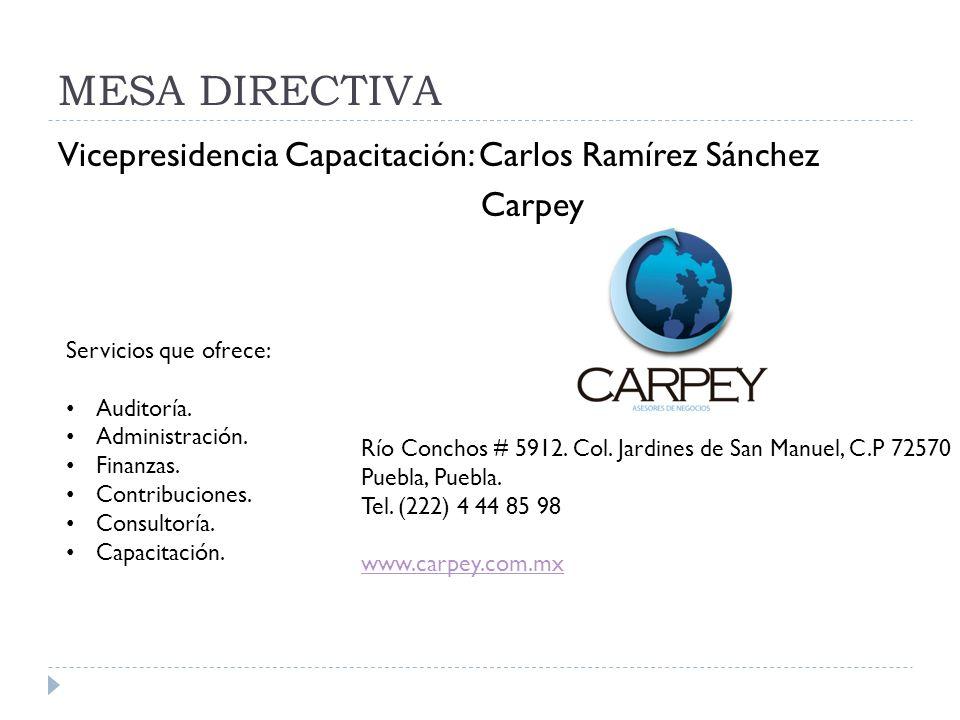 MESA DIRECTIVA Vicepresidencia Capacitación: Carlos Ramírez Sánchez Carpey Servicios que ofrece: Auditoría.