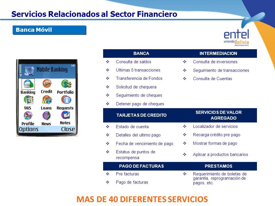 SERVICIOS DE VALOR AGREGADO MAS DE 40 DIFERENTES SERVICIOS