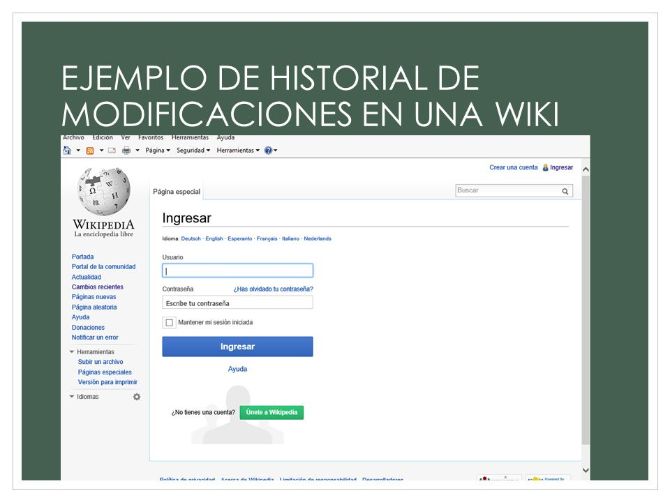 EJEMPLO DE HISTORIAL DE MODIFICACIONES EN UNA WIKI