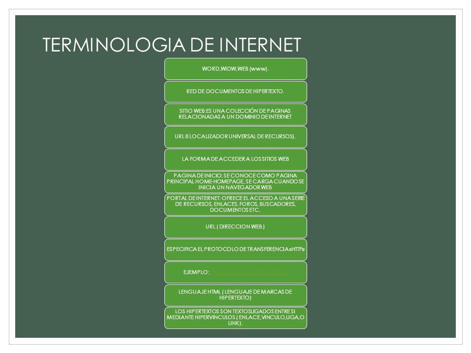 TERMINOLOGIA DE INTERNET