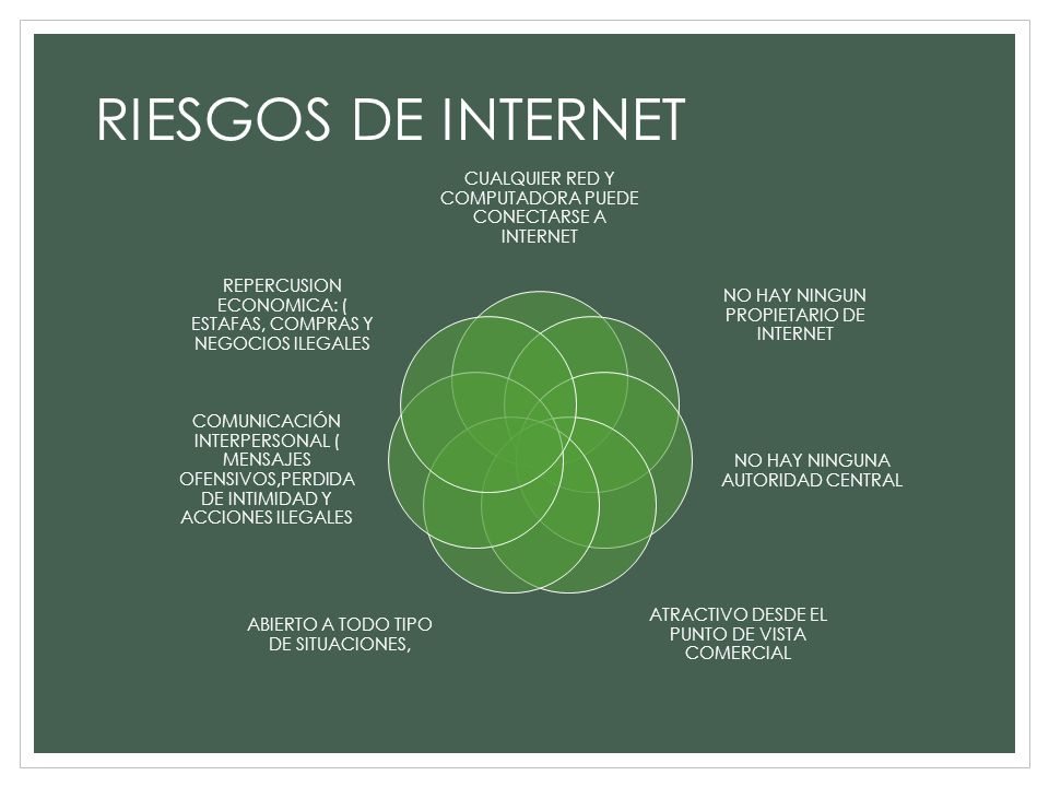 RIESGOS DE INTERNET CUALQUIER RED Y COMPUTADORA PUEDE CONECTARSE A INTERNET. NO HAY NINGUN PROPIETARIO DE INTERNET.