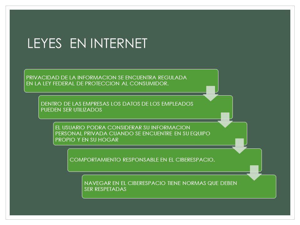 LEYES EN INTERNET PRIVACIDAD DE LA INFORMACION SE ENCUENTRA REGULADA EN LA LEY FEDERAL DE PROTECCION AL CONSUMIDOR.