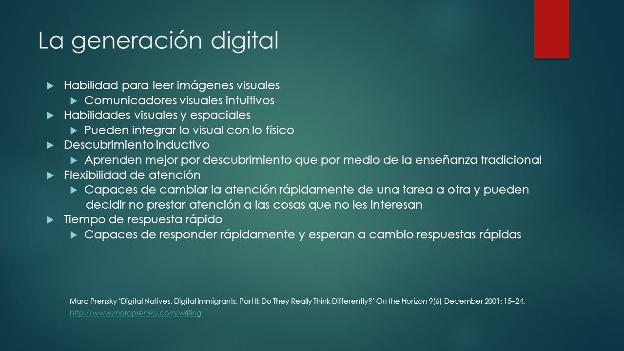 La generación digital Habilidad para leer imágenes visuales