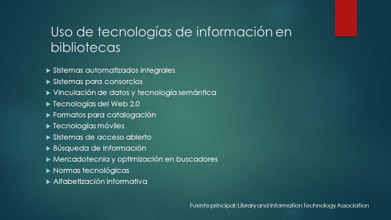 Uso de tecnologías de información en bibliotecas
