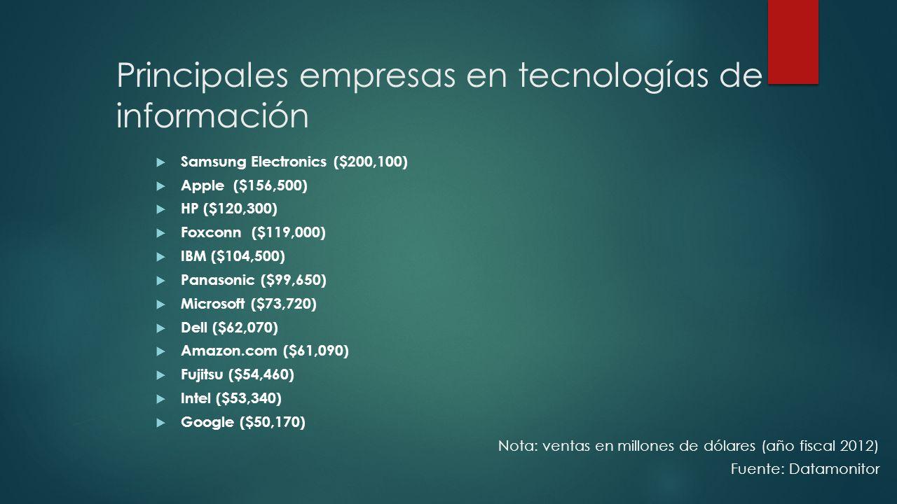 Principales empresas en tecnologías de información