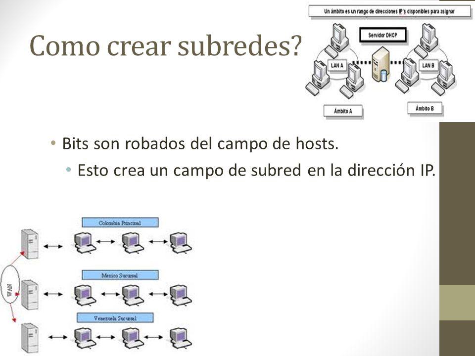Como crear subredes Bits son robados del campo de hosts.