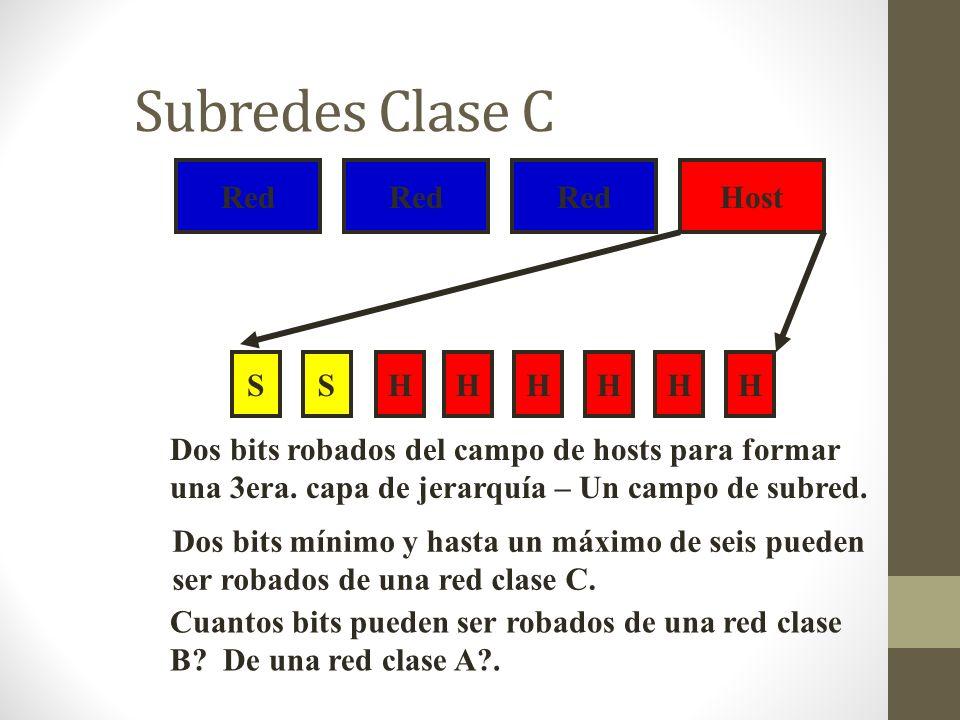 Subredes Clase C Red Red Red Host S S H H H H H H