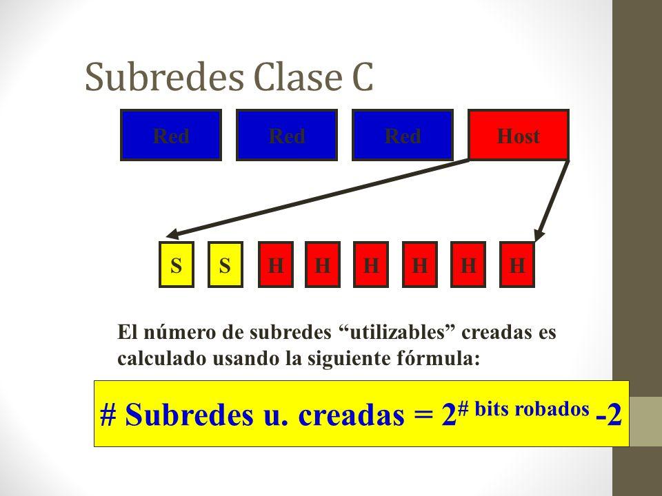 # Subredes u. creadas = 2# bits robados -2