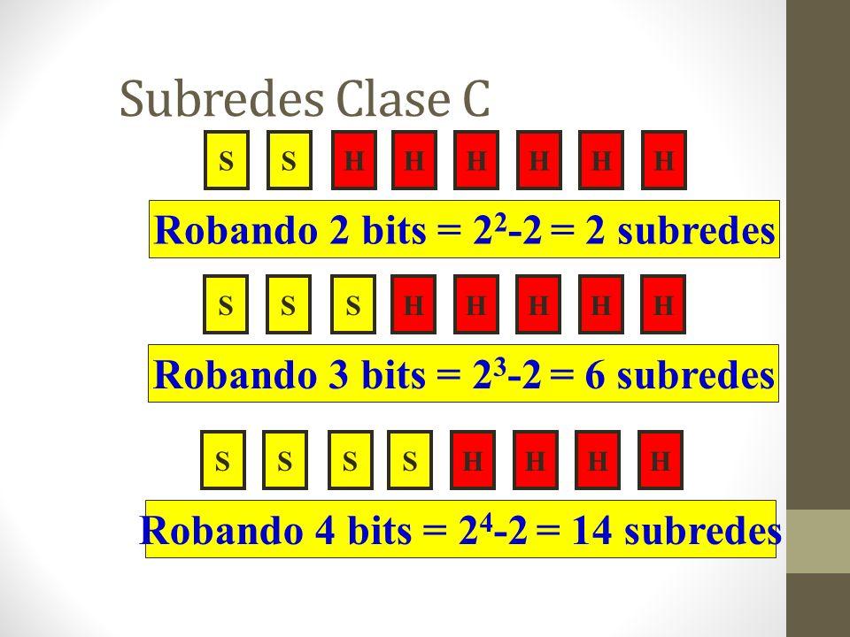 Subredes Clase C Robando 2 bits = 22-2 = 2 subredes
