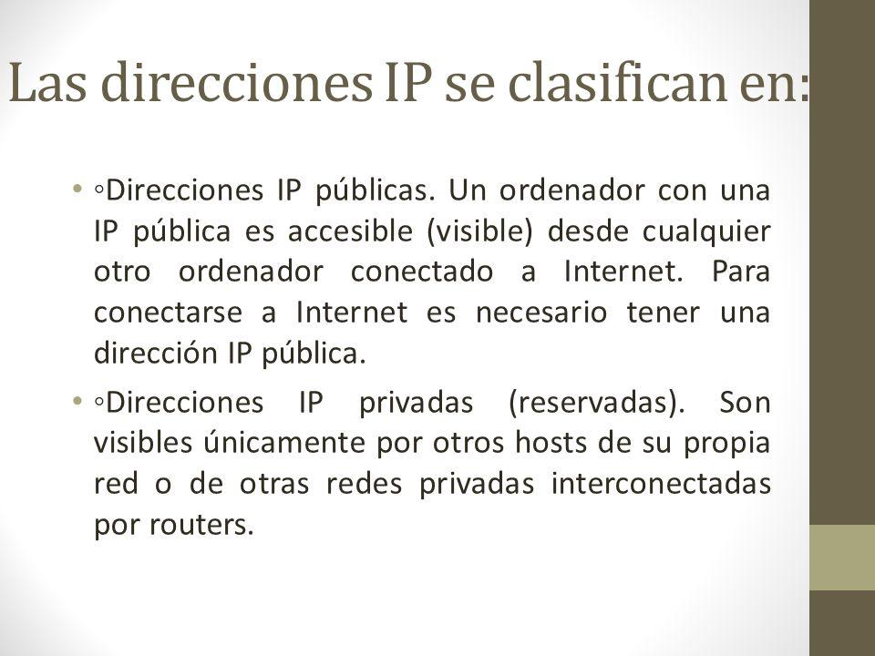 Las direcciones IP se clasifican en: