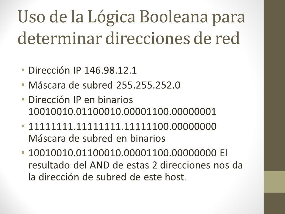 Uso de la Lógica Booleana para determinar direcciones de red