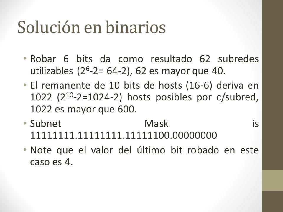 Solución en binarios Robar 6 bits da como resultado 62 subredes utilizables (26-2= 64-2), 62 es mayor que 40.