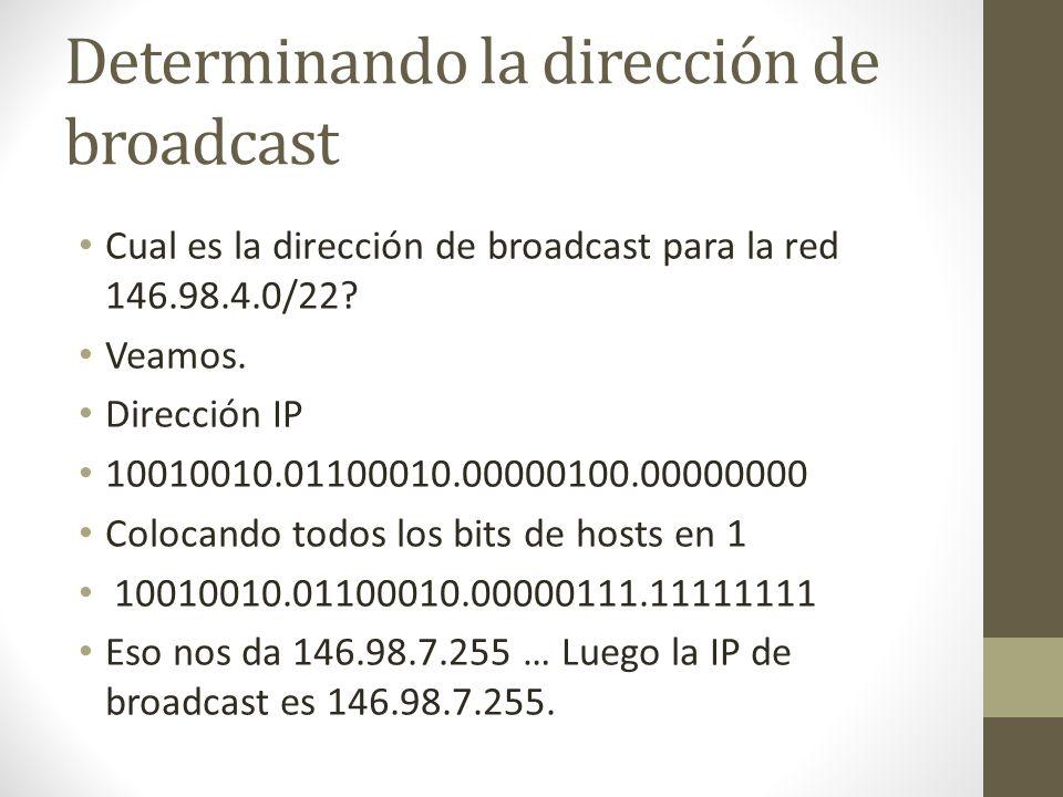 Determinando la dirección de broadcast