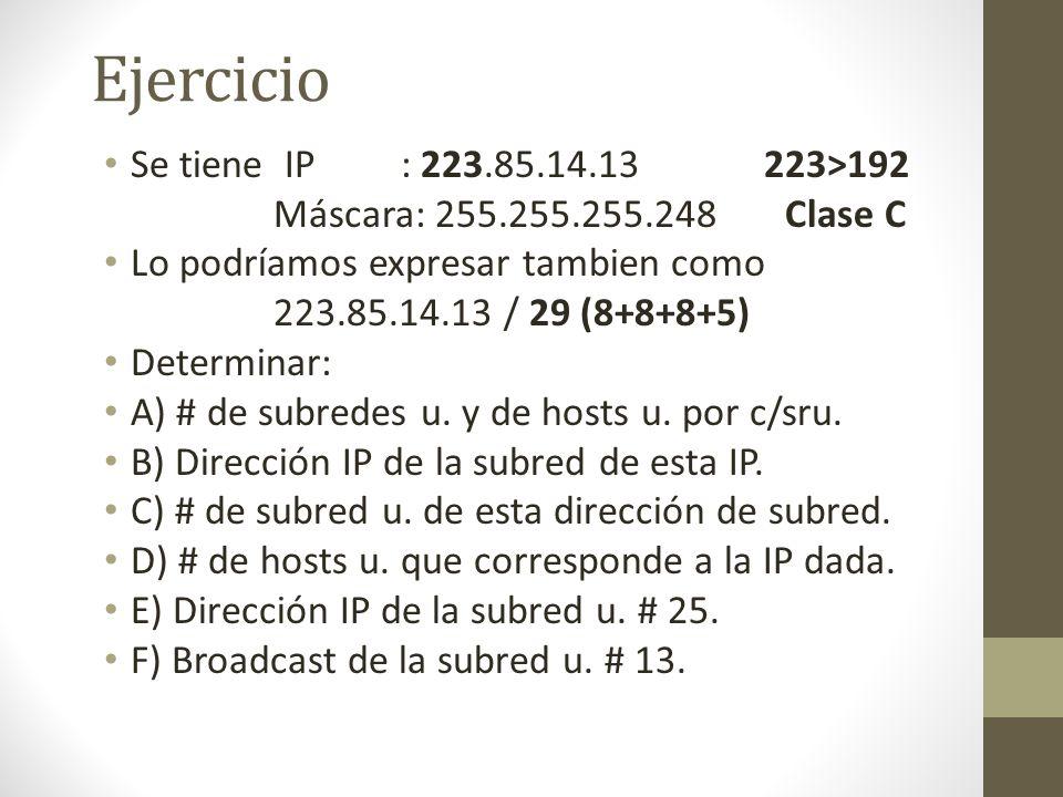 Ejercicio Se tiene IP : 223.85.14.13 223>192