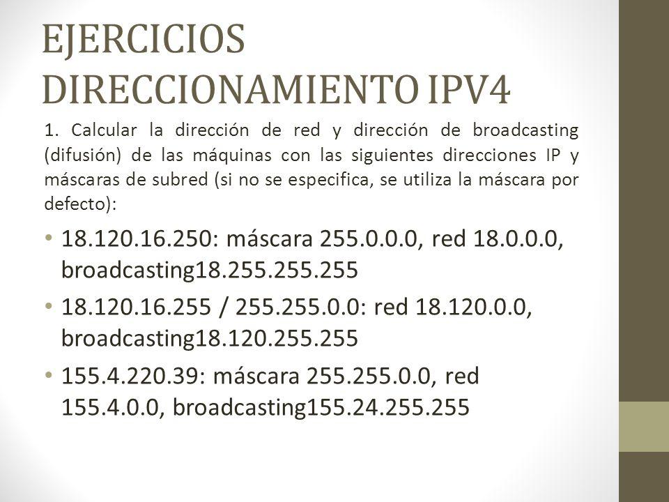EJERCICIOS DIRECCIONAMIENTO IPV4