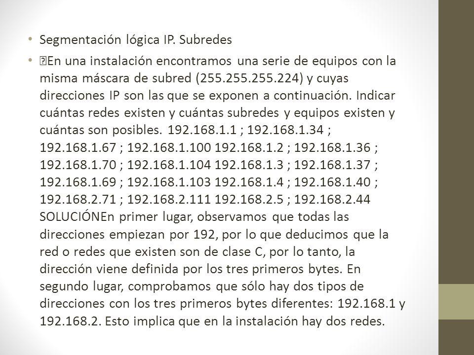 Segmentación lógica IP. Subredes