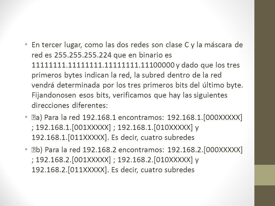 En tercer lugar, como las dos redes son clase C y la máscara de red es 255.255.255.224 que en binario es 11111111.11111111.11111111.11100000 y dado que los tres primeros bytes indican la red, la subred dentro de la red vendrá determinada por los tres primeros bits del último byte. Fijandonosen esos bits, verificamos que hay las siguientes direcciones diferentes: