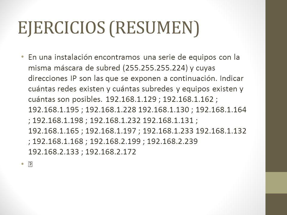 EJERCICIOS (RESUMEN)