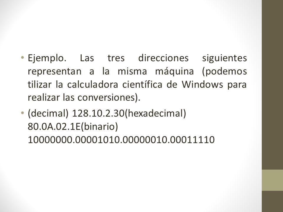Ejemplo. Las tres direcciones siguientes representan a la misma máquina (podemos tilizar la calculadora científica de Windows para realizar las conversiones).