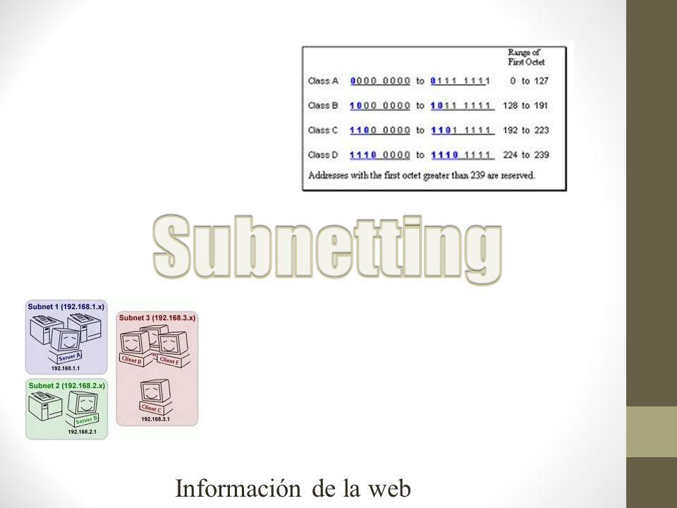 Subnetting Información de la web