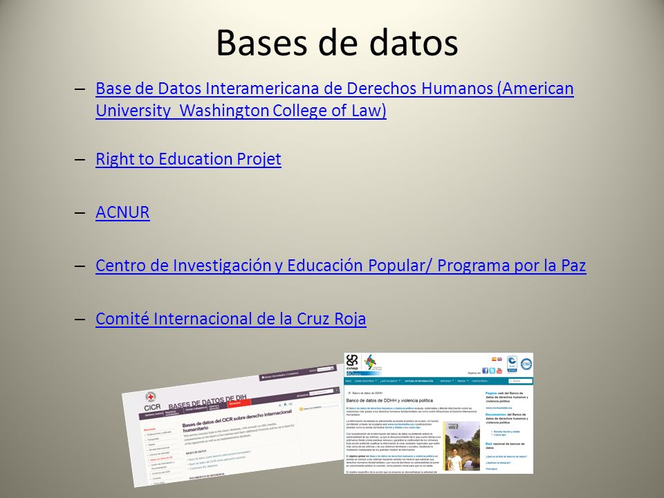 Bases de datos Base de Datos Interamericana de Derechos Humanos (American University Washington College of Law)