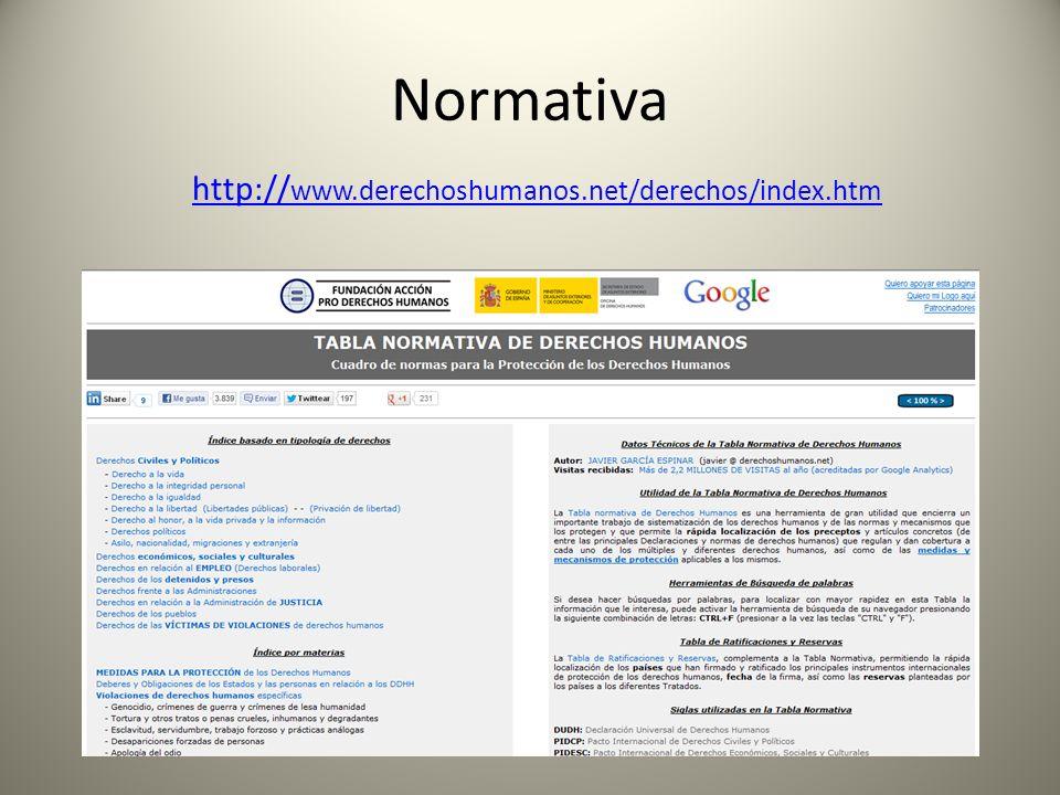 Normativa http://www.derechoshumanos.net/derechos/index.htm