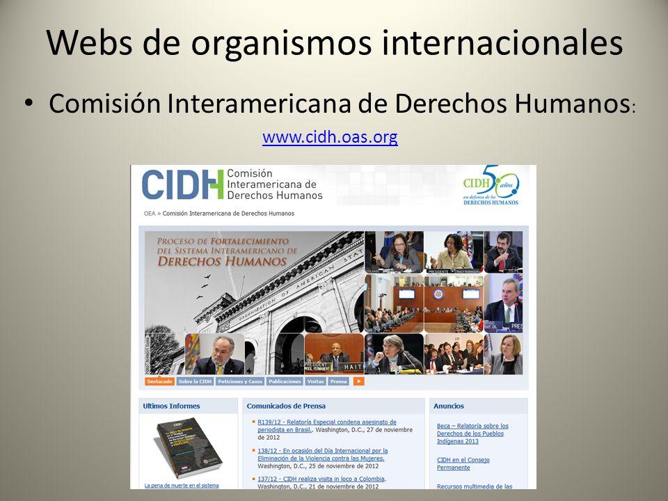 Webs de organismos internacionales