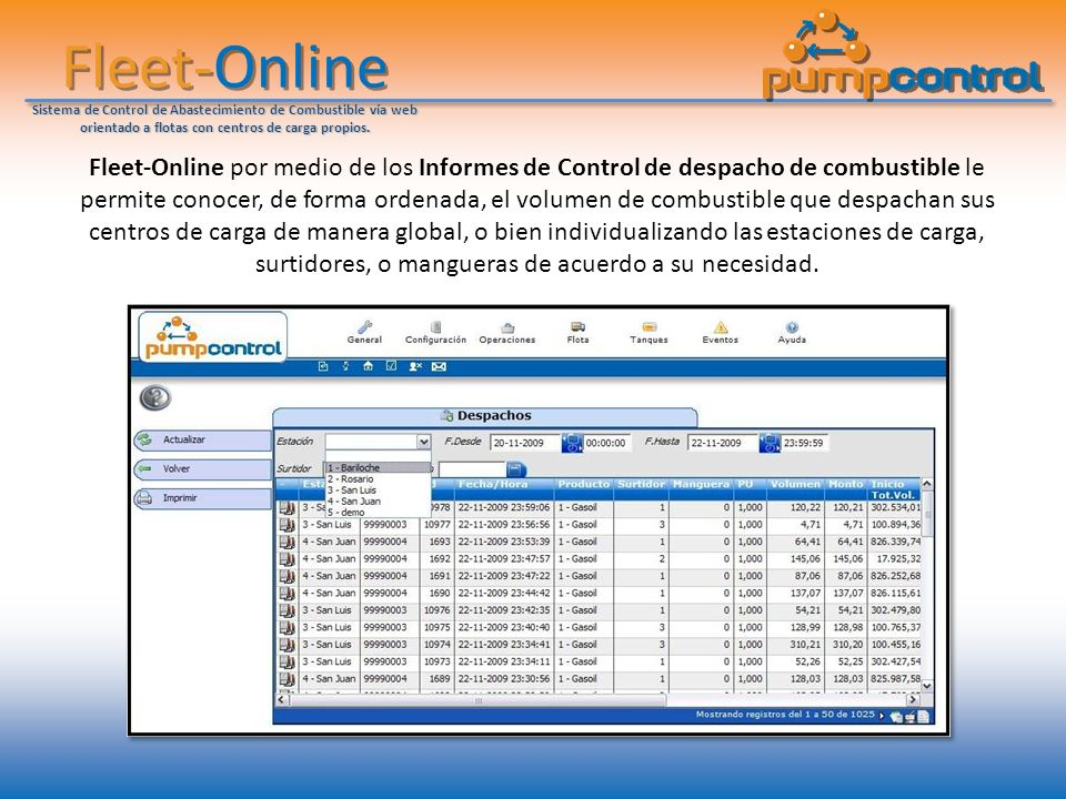 Fleet-Online Sistema de Control de Abastecimiento de Combustible vía web orientado a flotas con centros de carga propios.