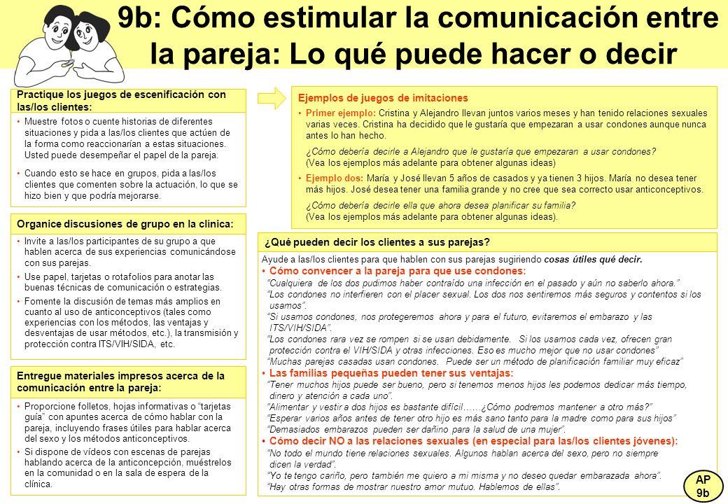 9b: Cómo estimular la comunicación entre la pareja: Lo qué puede hacer o decir