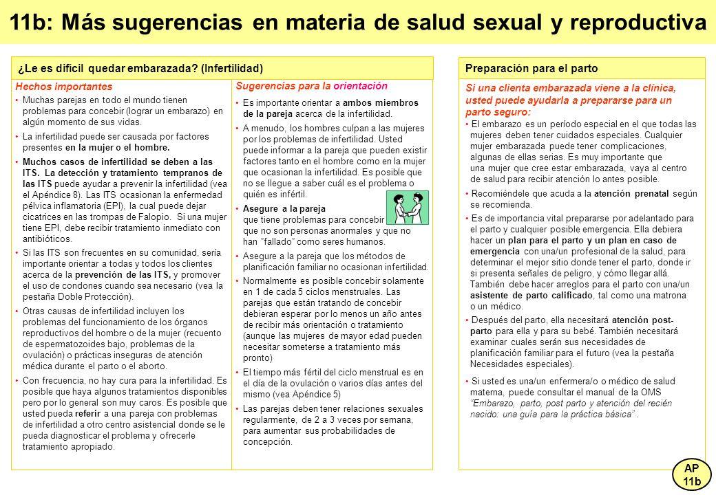 11b: Más sugerencias en materia de salud sexual y reproductiva