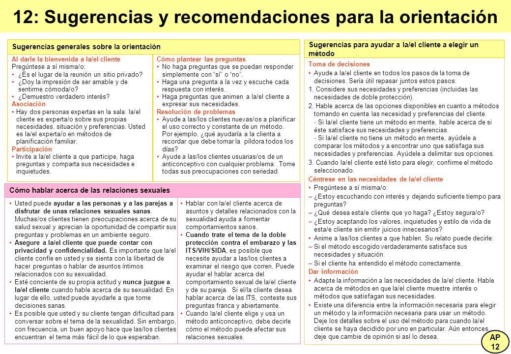 12: Sugerencias y recomendaciones para la orientación
