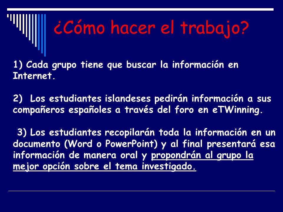 ¿Cómo hacer el trabajo 1) Cada grupo tiene que buscar la información en Internet.