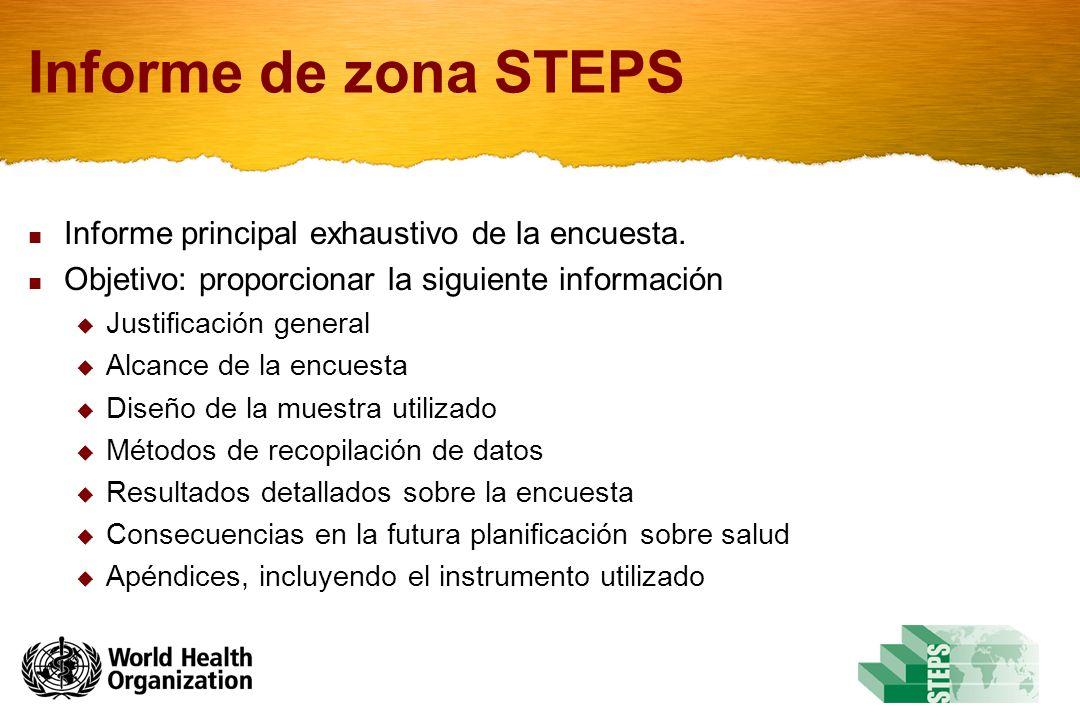 Informe de zona STEPS Informe principal exhaustivo de la encuesta.