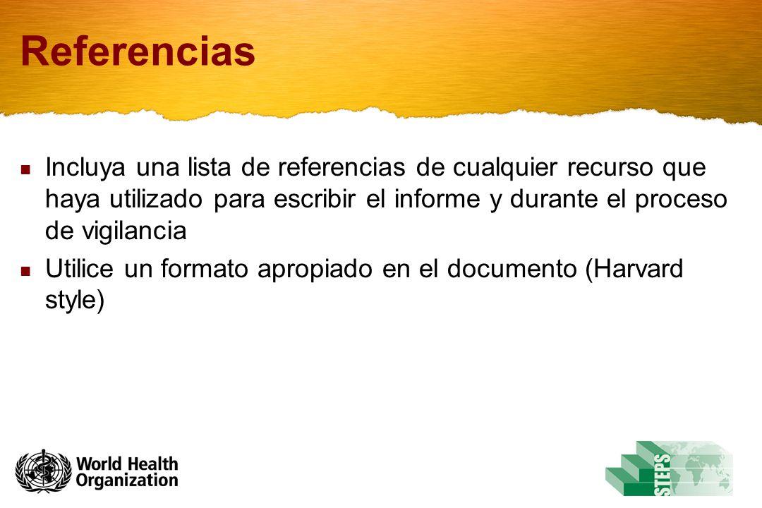 Referencias Incluya una lista de referencias de cualquier recurso que haya utilizado para escribir el informe y durante el proceso de vigilancia.