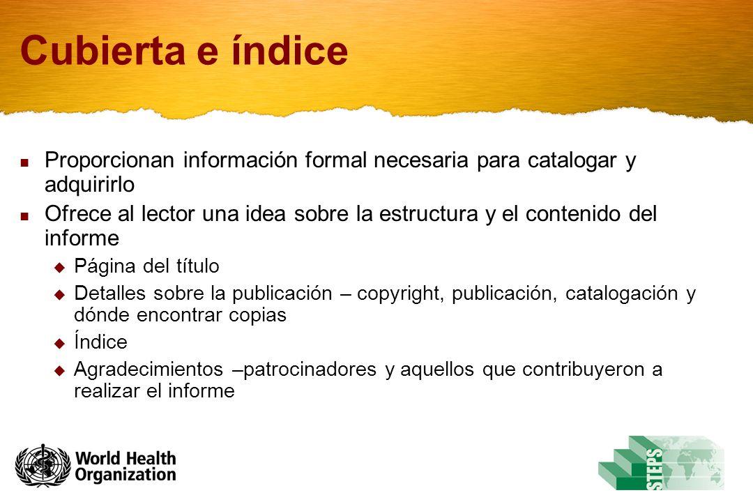 Cubierta e índice Proporcionan información formal necesaria para catalogar y adquirirlo.