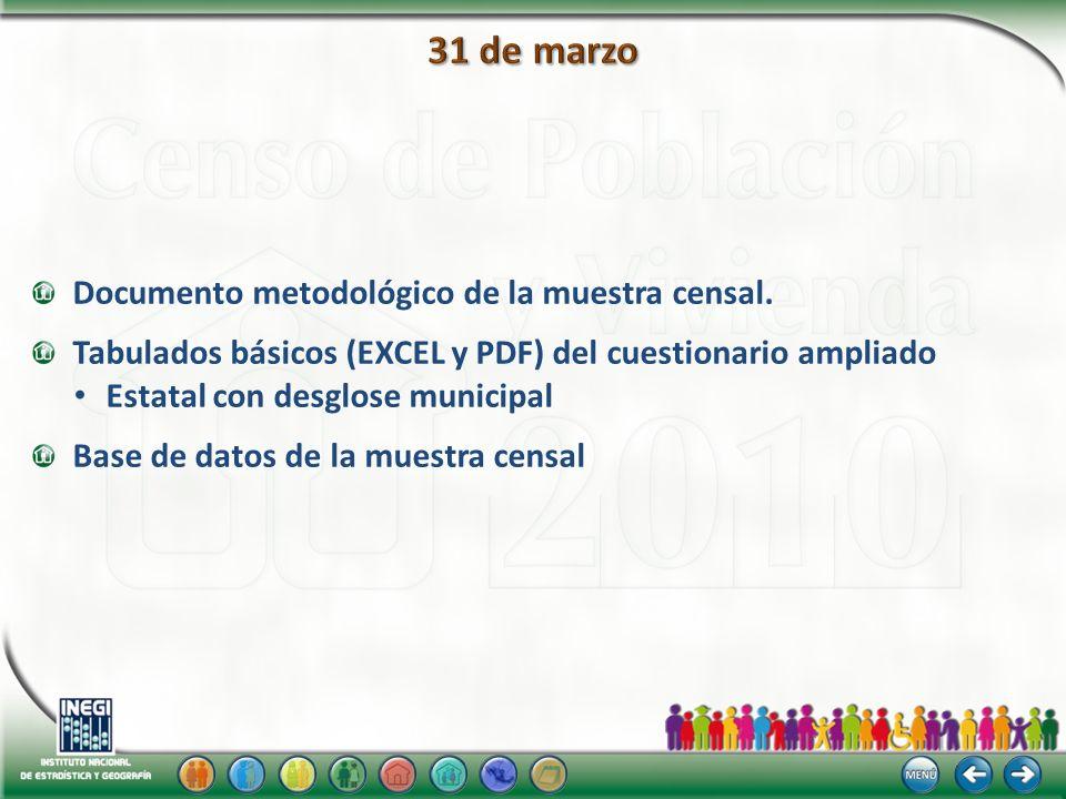 31 de marzo Documento metodológico de la muestra censal.