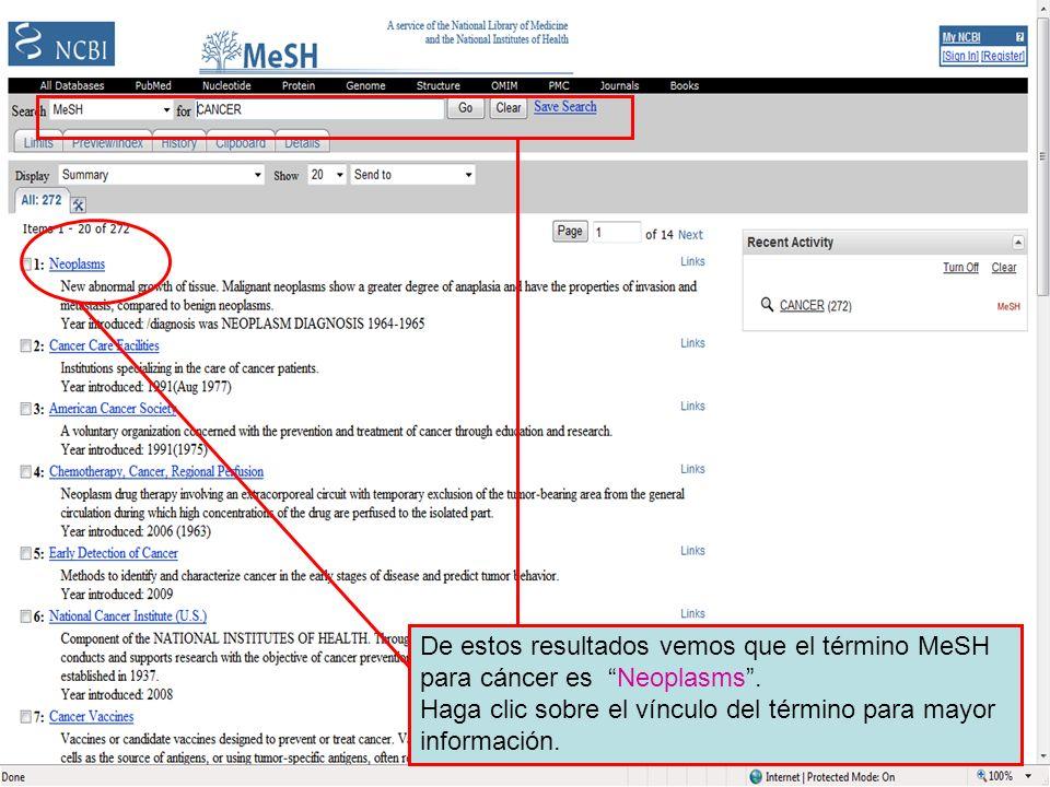 MeSH search resultsDe estos resultados vemos que el término MeSH para cáncer es Neoplasms .