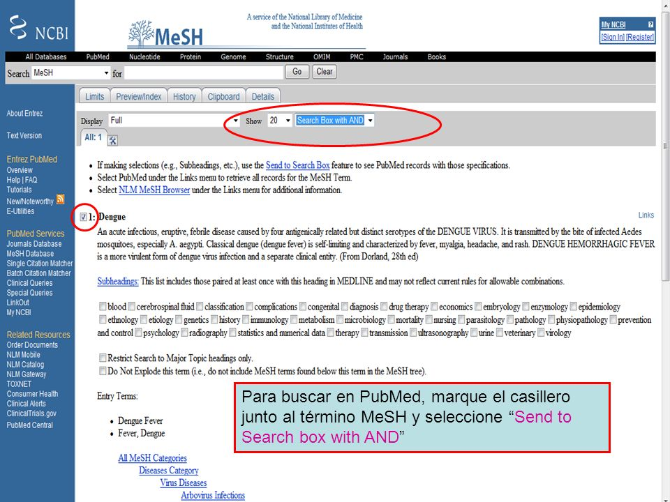 Dengue 4 Para buscar en el PubMed, marque el casillero junto al término MeSH y seleccione Send to Search box with AND