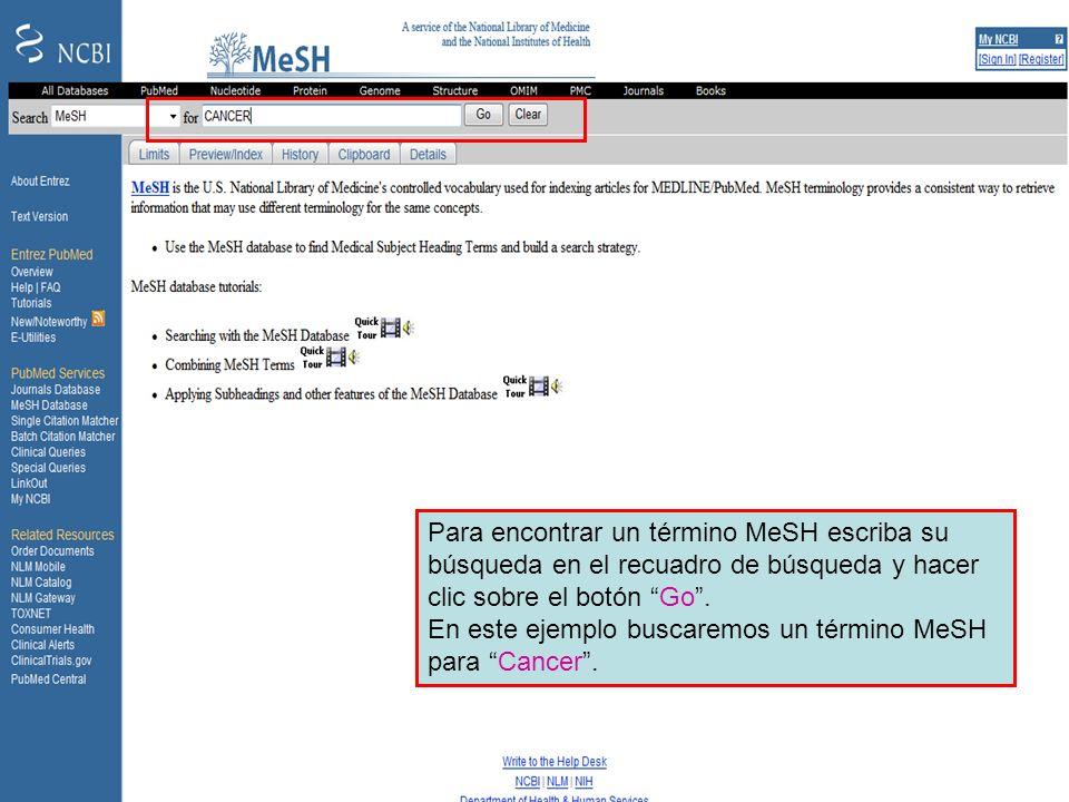 Searching in MeSHPara encontrar un término MeSH escriba su búsqueda en el recuadro de búsqueda y hacer clic sobre el botón Go .