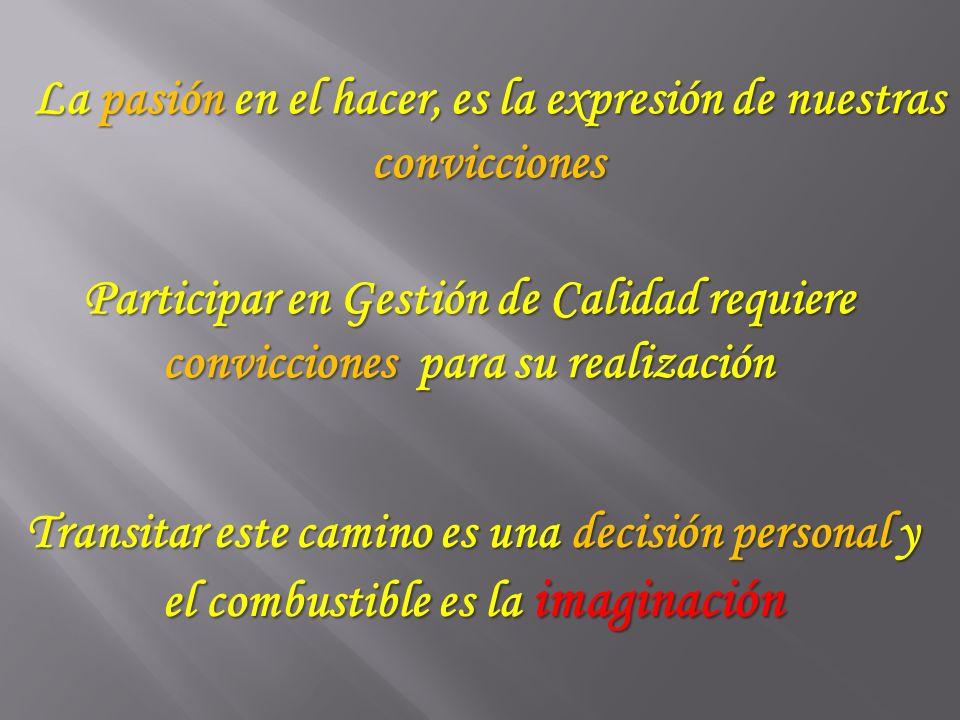 La pasión en el hacer, es la expresión de nuestras convicciones