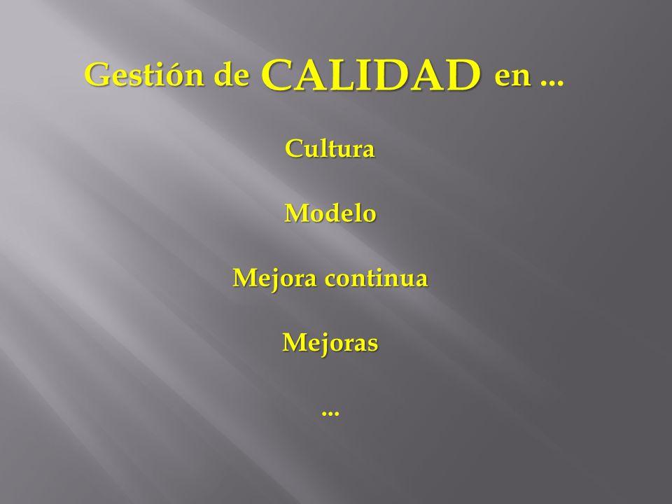 CALIDAD Gestión de en ... Cultura Modelo Mejora continua Mejoras ...