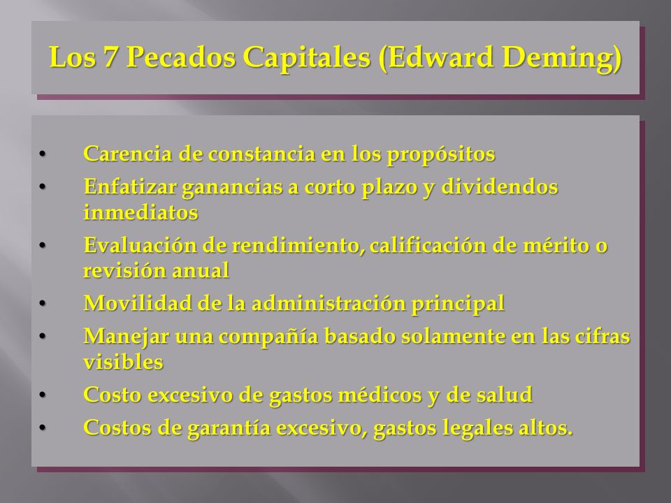 Los 7 Pecados Capitales (Edward Deming)