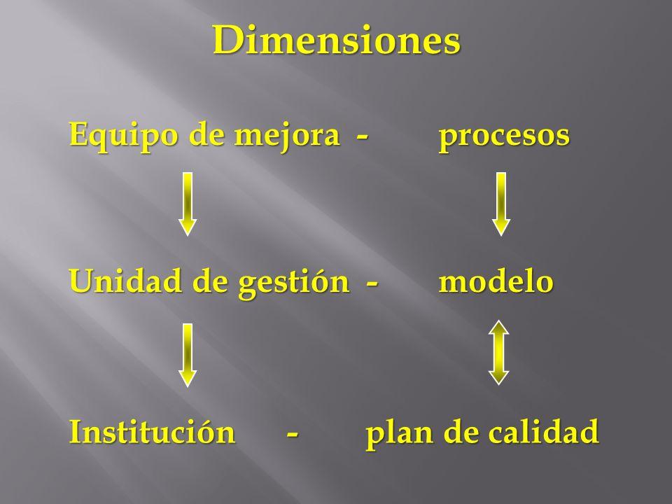 Dimensiones Equipo de mejora - procesos Unidad de gestión - modelo